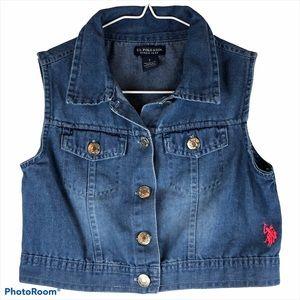 US Polo Assn Denim Vest Girls Button Up Size 7